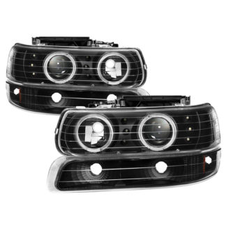 Chevy Silverado 1500/2500 99-02 / Chevy Silverado 3500 01-02 / Chevy Suburban 1500/2500 00-06 / Chevy Tahoe 00-06 Bumper Light and Projector Headlights 4pcs- LED Halo – LED – Black