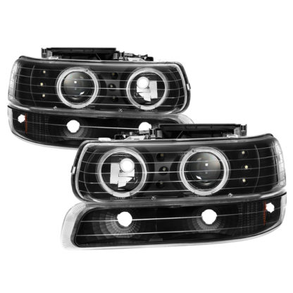 Chevy Silverado 1500/2500 99-02 / Chevy Silverado 3500 01-02 / Chevy Suburban 1500/2500 00-06 / Chevy Tahoe 00-06 Bumper Light and Projector Headlights 4pcs- LED Halo - LED - Black