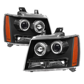Chevy Suburban 1500/2500 07-14 / Chevy Tahoe 07-14 / Avalanche 07-14 Halo Projector W/LED Headlights - Black
