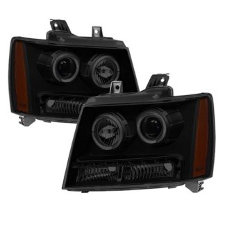Chevy Suburban 1500/2500 07-14 / Chevy Tahoe 07-14 / Avalanche 07-14 Halo Projector W/LED Headlights - Black Smoked