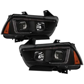 Dodge Charger 11-14 Projector Headlights - Halogen Model Only ( Not Compatible With Xenon/HID Model ) - Light Tube DRL - Black