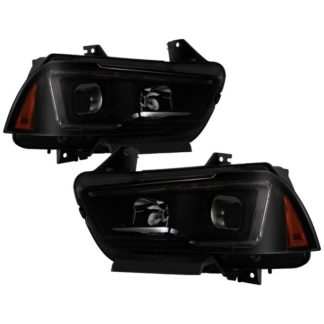 Dodge Charger 11-14 Projector Headlights - Halogen Model Only ( Not Compatible With Xenon/HID Model ) - Light Tube DRL - Black Smoked