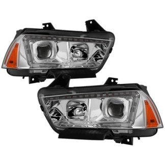Dodge Charger 11-14 Projector Headlights - Halogen Model Only ( Not Compatible With Xenon/HID Model ) - Light Tube DRL - Chrome