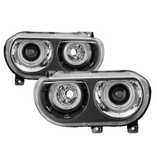 Dodge Challenger 08-14 HID Model Only (does not Halogen model) CCFL Halo Projector Headlights Black