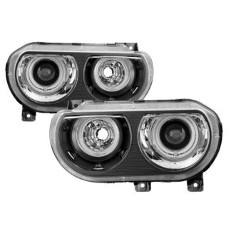 Dodge Challenger 08-14 Halogen Model Only (does not HID model) CCFL Halo Projector Headlights Black