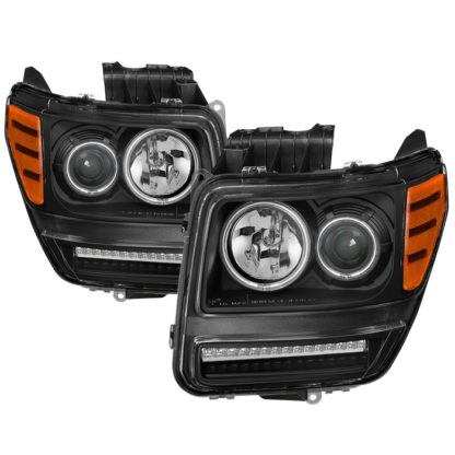 Dodge Nitro 07-11 CCFL Halo Projector Headlights with LED Signal Function -Black