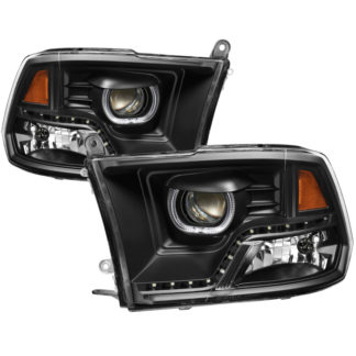 Dodge Ram 2009-2014 Halo LED Projector Headlights - Black