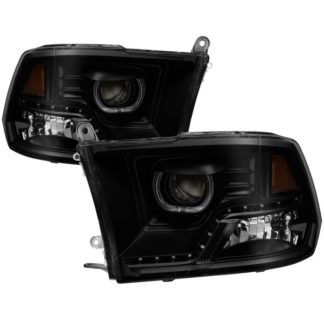 Dodge Ram 2009-2014 Halo LED Projector Headlights - Black Smoke
