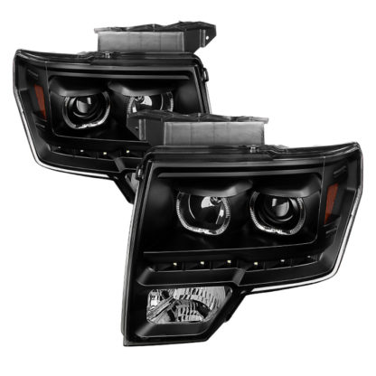 Ford F150 09-14 Projector Headlights - Halogen Model Only ( Not Compatible With Xenon/HID Model ) Projector Headlights - LED Halo - Black