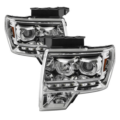 Ford F150 09-14 Projector Headlights - Halogen Model Only ( Not Compatible With Xenon/HID Model ) Projector Headlights - LED Halo - Chrome