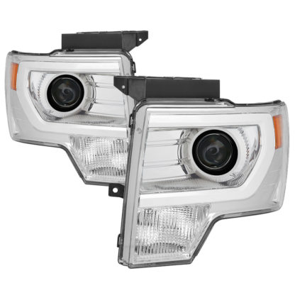 Ford F150 09-14 Projector Headlights - Halogen Model Only ( Not Compatible with Factory Xenon/HID Model ) - Light Bar DRL - Chrome