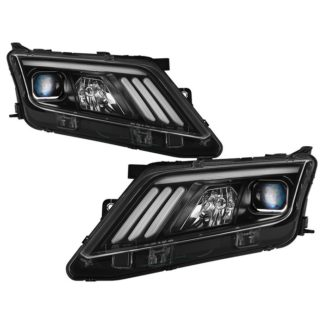Ford Fusion 2010-2012 Projector Headlights  - Light Tube DRL - Black