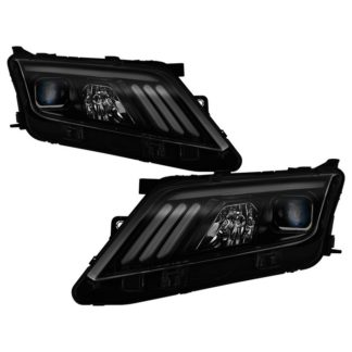 Ford Fusion 2010-2012 Projector Headlights  - Light Tube DRL - Black Smoked