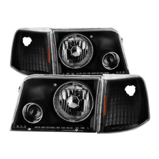Ford Ranger 93-97 Projector Headlights With Corner Lights  - Black