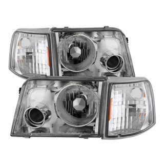 Ford Ranger 93-97 Projector Headlights With Corner Lights  - Chrome