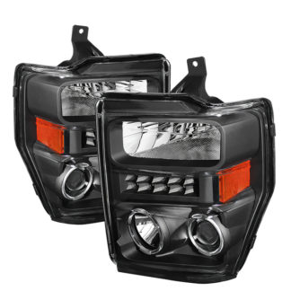Ford F250/350/450 Super Duty 08-10 Projector Headlights - LED Halo  - Black