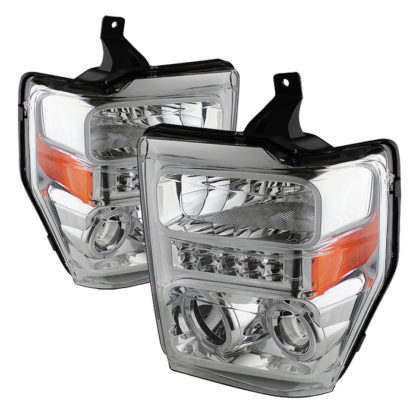 Ford F250/350/450 Super Duty 08-10 Projector Headlights - LED Halo - Chrome