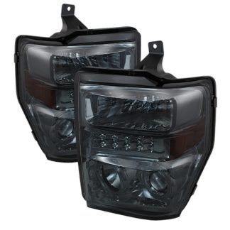 Ford F250/350/450 Super Duty 08-10 Projector Headlights - LED Halo  - Smoke