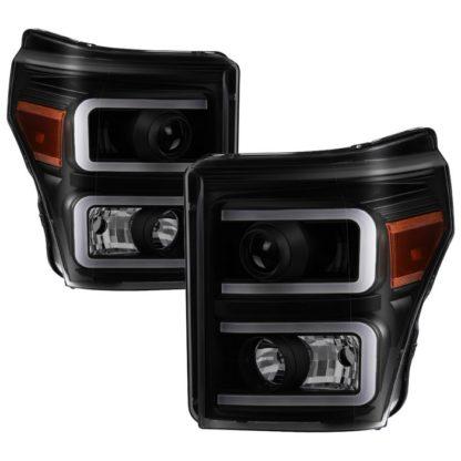 Ford F-250/F-350/F450 Super Duty 11-16 Projector Headlights - Light Bar DRL - Black Smoked