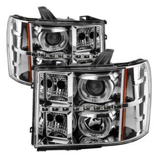 GMC Sierra 1500/2500/3500 07-13 / GMC Sierra Denali 08-13 / GMC Sierra 2500HD/3500HD 07-13 Projector Headlights – LED Halo- Chrome