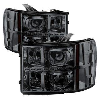 GMC Sierra 1500/2500/3500 07-13 / GMC Sierra Denali 08-13 / GMC Sierra 2500HD/3500HD 07-13 Projector Headlights - LED Halo- Smoked
