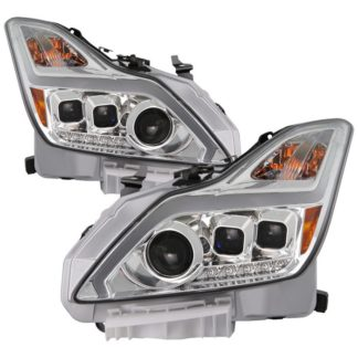 Infiniti G37 G37X Coupe (non-AFS) HID Models Only 2008-2015 ( Not Fit Halogan & Models With AFS ) DRL Light Bar Projector Headlights w/Sequential Turn Signal - Chrome