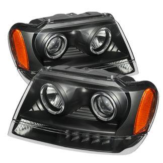 Jeep Grand Cherokee 99-04 Projector Headlights - LED Halo  - Black