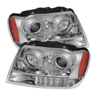 Jeep Grand Cherokee 99-04 Projector Headlights - LED Halo - Chrome
