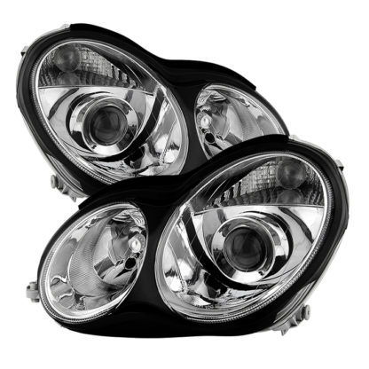 Mercedes W203 C class Sedan 2001-2005 ( Does Not Fit Coupe and HID models ) Projector Headlights -Chrome