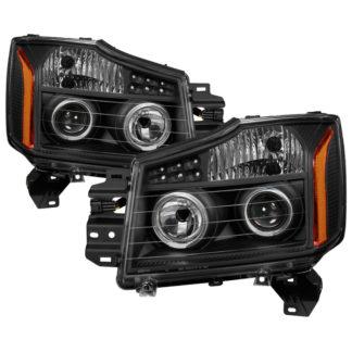 Nissan Titan 04-15 / Nissan Armada 04-07 Projector Headlights - LED Halo - Black