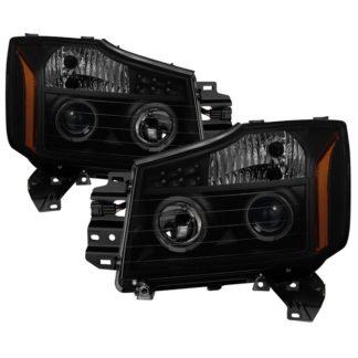 Nissan Titan 04-15 / Nissan Armada 04-07 Projector Headlights - LED Halo - Black Smoked