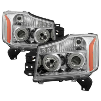 Nissan Titan 04-15 / Nissan Armada 04-07 Projector Headlights - LED Halo - Chrome