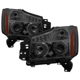 Nissan Titan 04-15/ Nissan Armada 04-07 Projector Headlights - LED Halo - Smoke