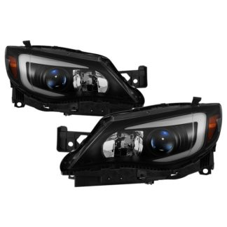 Subaru Impreza WRX Halogen Only 2008-2014 ( Not Compatible With Xenon/HID Model ) – DRL Light Bar Projector Headlights w/Sequential Turn Signal – Black Smoked