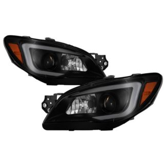 Subaru Impreza WRX 2006-2007 Projector Headlights - Halogen Model Only ( Not Compatible With Xenon/HID Model ) - Light Bar DRL - Black Smoked