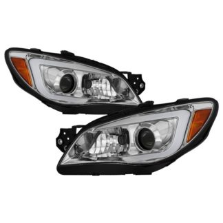 Subaru Impreza WRX 2006-2007 Projector Headlights – Halogen Model Only ( Not Compatible With Xenon/HID Model ) – Light Bar DRL – Chrome