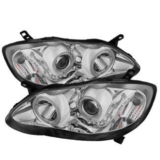 Toyota Corolla 03-08 Projector Headlights – LED Halo  – Chrome