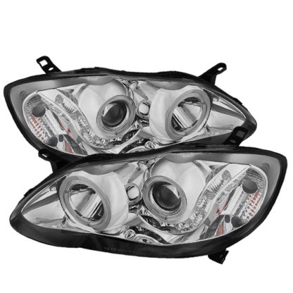 Toyota Corolla 03-08 Projector Headlights - LED Halo  - Chrome