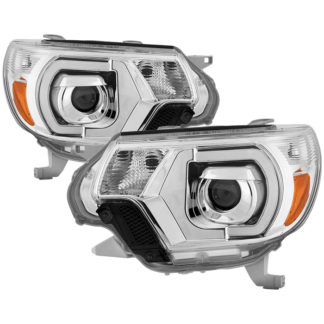 Toyota Tacoma 12-15 Projector Headlights – Light Bar DRL – Chrome