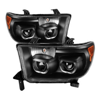 Toyota Tundra 07-13 / Toyota Sequoia 08-13 Projector Headlights - Eliminates AFS function - LED Halo - Black
