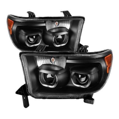 Toyota Tundra 07-13 / Toyota Sequoia 08-13 Projector Headlights - Eliminates AFS function - LED Halo - Black
