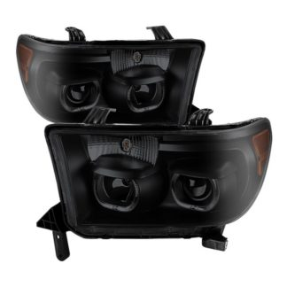 Toyota Tundra 07-13 / Toyota Sequoia 08-13 Projector Headlights - Eliminates AFS function - LED Halo - Black Smoked