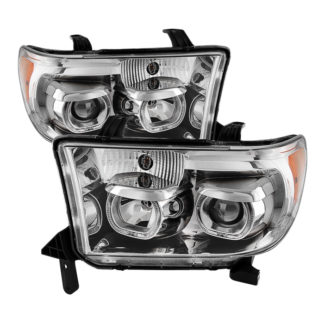 Toyota Tundra 07-13 / Toyota Sequoia 08-13 Projector Headlights - Eliminates AFS function - LED Halo - Chrome