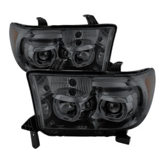 Toyota Tundra 07-13 / Toyota Sequoia 08-13 Projector Headlights - Eliminates AFS function - LED Halo - Smoked