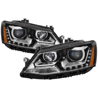 Volkswagen Jetta 11-14 Halogen Model Only ( Not Compatible With Xenon/HID Model )/Only fits sedan models DRL Projector Headlights - Black