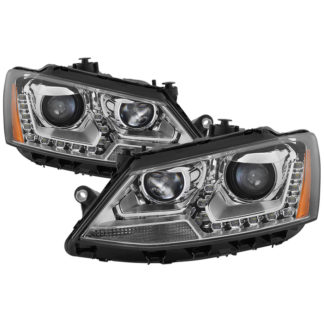 Volkswagen Jetta 11-14 Halogen Model Only ( Not Compatible With Xenon/HID Model )/Only fits sedan models DRL Projector Headlights - Chrome