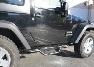 Nerf Bar Drop Down Style Black Carbon Steel 2007-2018 Jeep Wrangler JK 2Dr (Factory sidesteps or rock rails have to be removed)