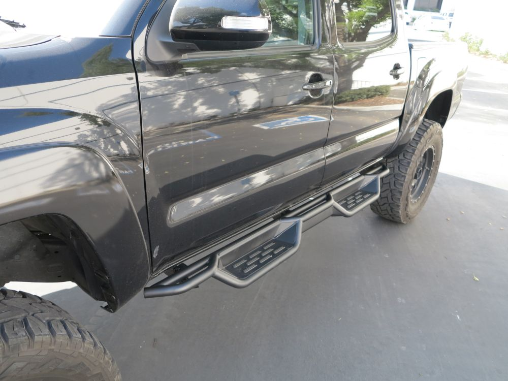 Bars In Tacoma >> Nerf Bar Drop Down Style Black Carbon Steel 2005 2018 Toyota Tacoma Double Crew Cab