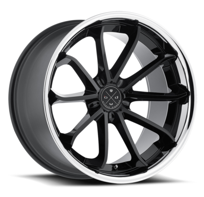 Blaque Diamond Wheel / Model BD-23 / Glossy Black w/Chrome SS Lip