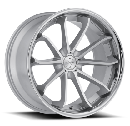 Blaque Diamond Wheel / Model BD-23 / Brushed Silver w/Chrome SS Lip